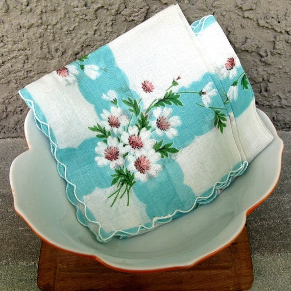 Vintage Daisy Handkerchief, Sky Blue and White Sheer