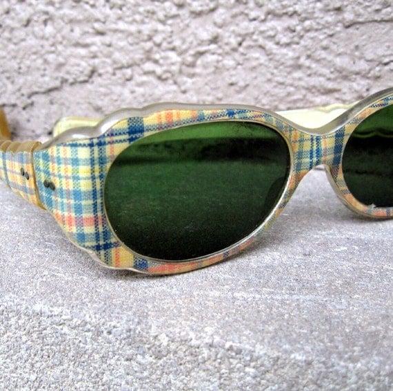 Vintage Plaid Sunglasses Frames - Italian