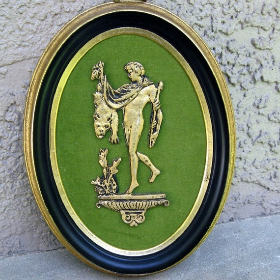 Vintage Hercules Framed Picture Sculpted Metal on Olive Fabric