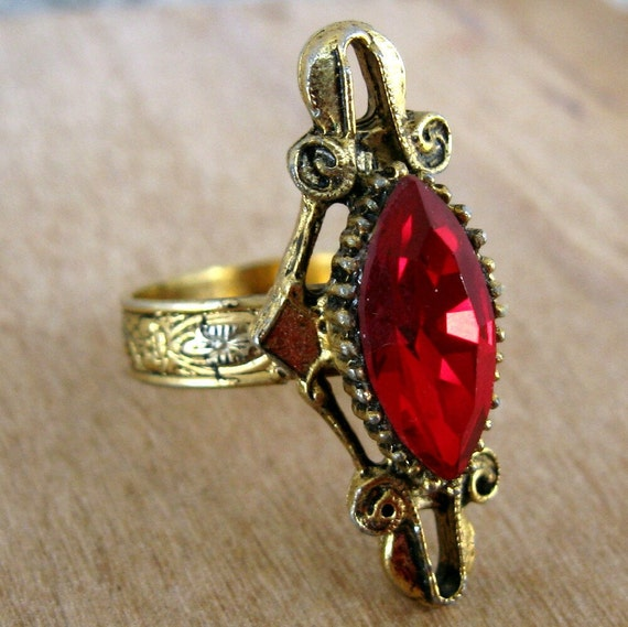 Vintage Red Ring, Medieval Style Gold with Crimson Red Stone