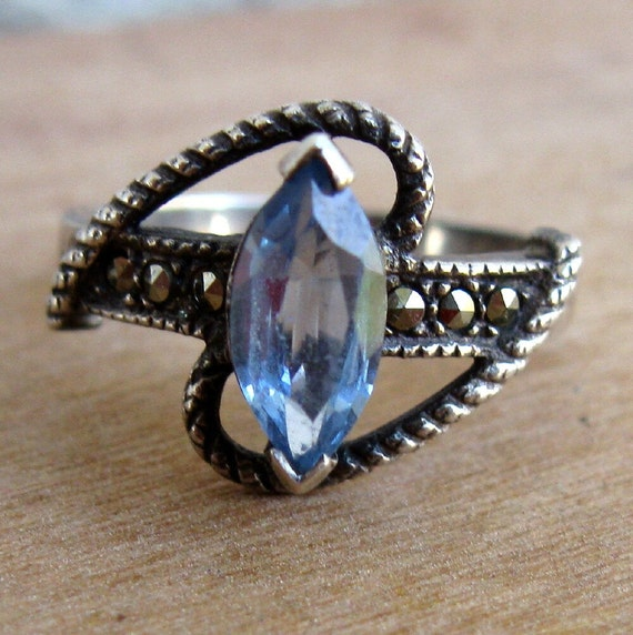Vintage Sterling Silver Ring with Blue Topaz and Marcasite Sz 7.5