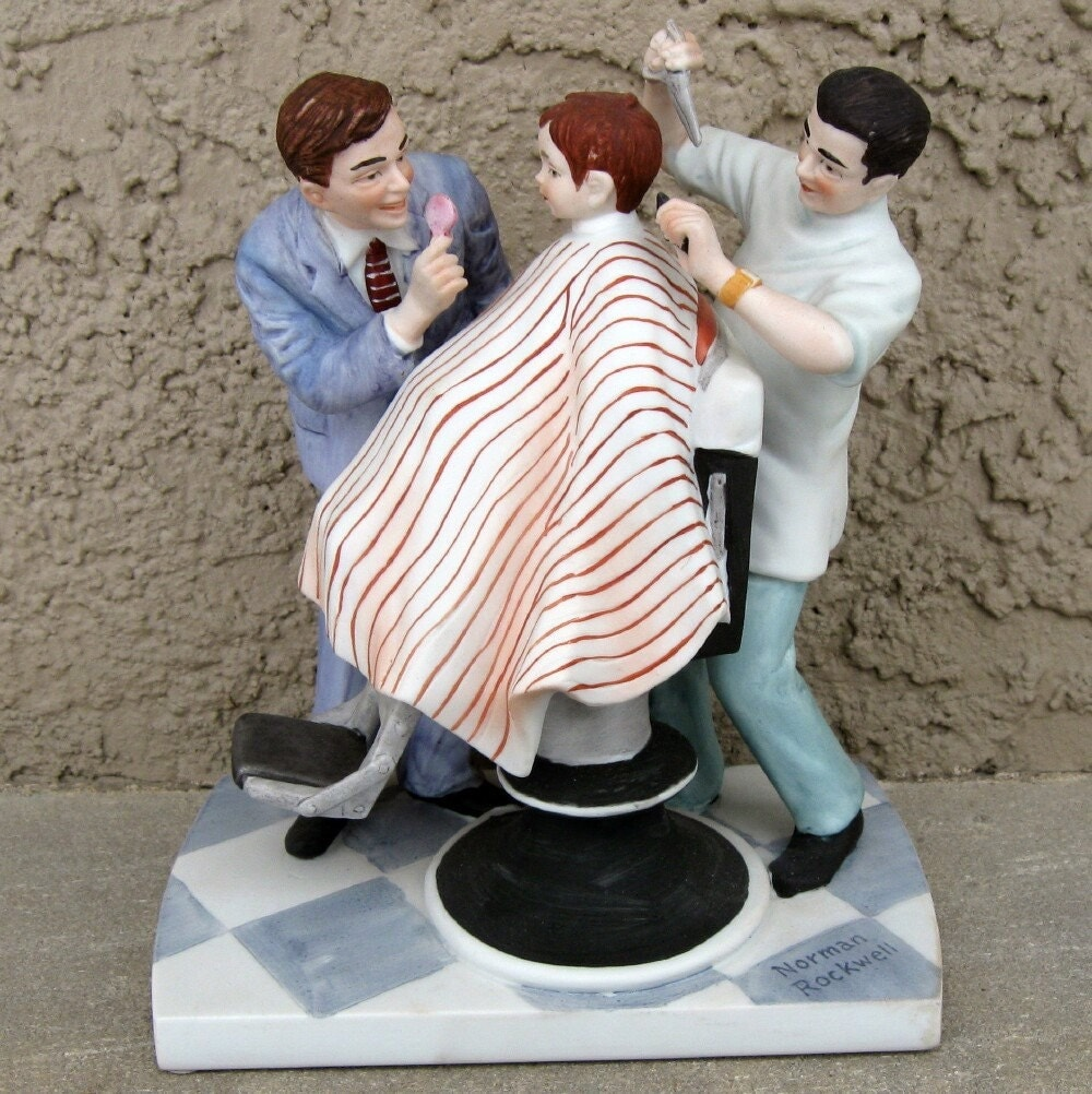 norman rockwell haircut vintage norman rockwell figurine haircut 3783