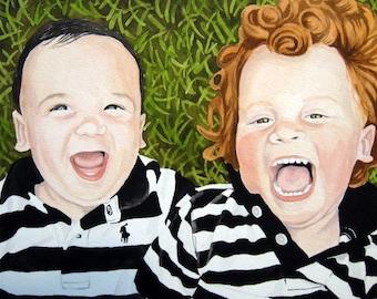 Watercolor Portrait Fine Art of Two People 12 X 18