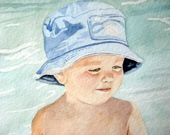 Cherished Heirloom Gift of Art 5 X 7 Watercolor Portrait of One Child or Adult