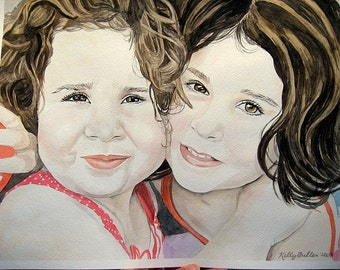 Give the Gift of Art Custom  12 X 18 Watercolor Portrait of Two People