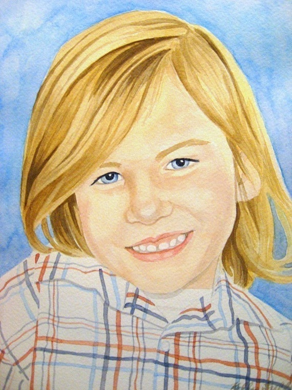 Give the Gift of Art Custom 5 X 7 Watercolor Portrait - One Person