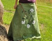 Custom Made Dogwood flowers hemp and organic cotton wrap skirt