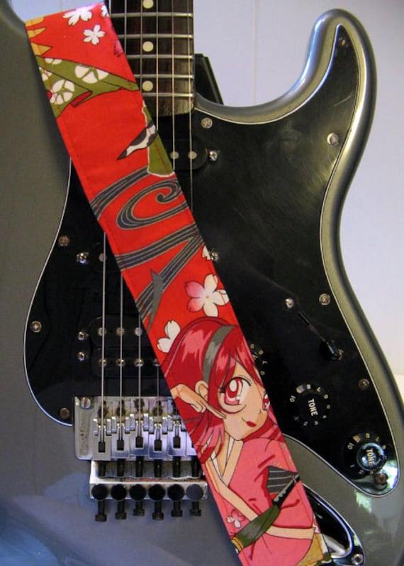 red anime thunder flower punk rock guitar strap. Black Bedroom Furniture Sets. Home Design Ideas