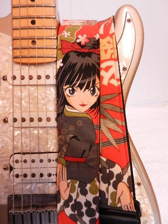 Thunderflower red anime manga guitar strap