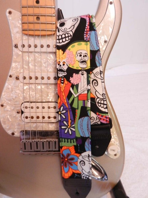 Day of the Dead party hipster guitar strap