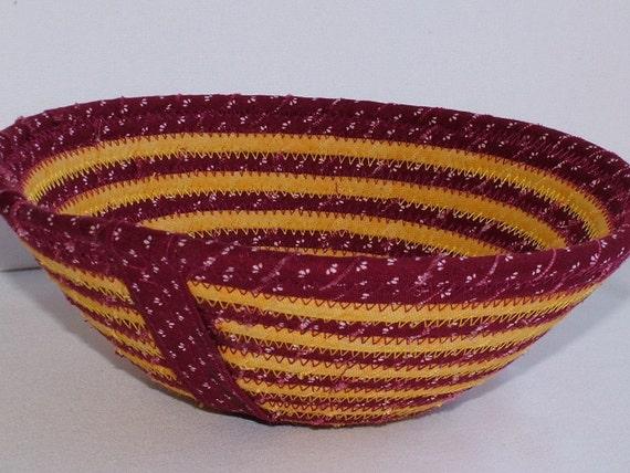 GARNET AND GOLD STRIPE Fabric Basket