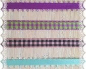 Purple, Lime Green, Turquoise & Light Pink Ribbon Destash - Picot Edge and Gingham - Handmade Craft Hair Bow