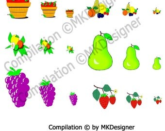 Fruits - Digital Collage Sheet in Multiple Sizes - 18 Count