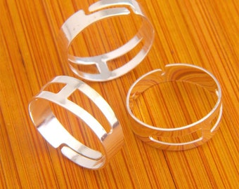 17MM 50pcs Findings Adjustable silvery white Base Blank RING ----KZ02