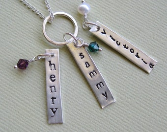 Name Necklace- Three Charms