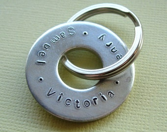 Hand Stamped Washer Key Ring