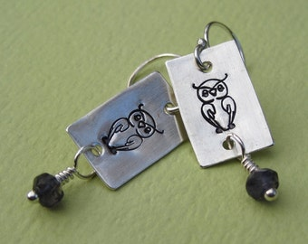 Hand Made Sterling Silver and Iolite Owl Earrings