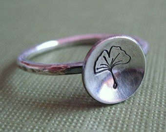 Sterling Silver Ginko Leaf Ring