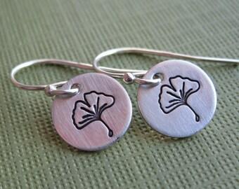 Tiny Ginko Leaf Earrings