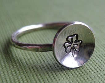 Luck- Sterling Silver Shamrock Ring- Other Designs Available