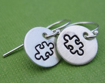 Tiny Puzzle Piece Earrings