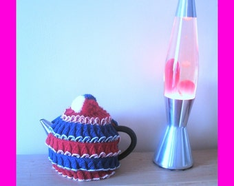 1930's style red, white and blue frilly jubilee teacosy