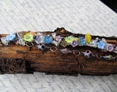 Beadwoven Double Strand Bracelet with Flowers and Glass Beads