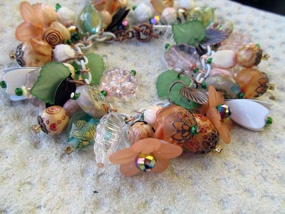 Tiger Lily Charm Bracelet of Orange Flowers with Glass Beads