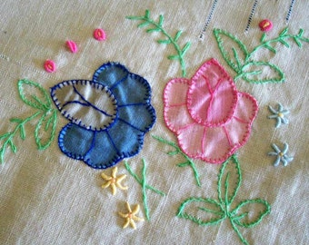 Vintage Embroidered and Appliqued Table Square/Dresser Scarf