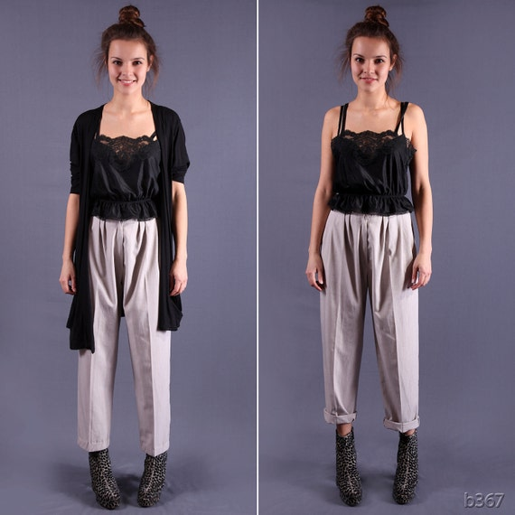 High Waist Pants / 80s Ankle Trousers / Small to Medium