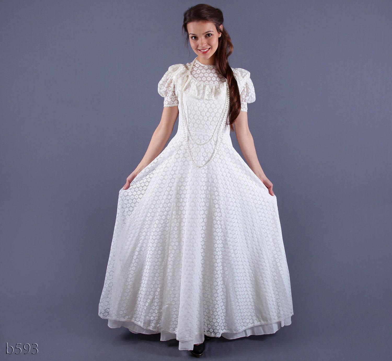 Vintage Prairie Wedding Dress Cotton Lace Dress Medium