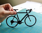 Bicycle Silhouette 8x10 hand-cut paper art FREE SHIPPING