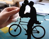 First Anniversary Gift Paper Kissing Couple on Bike- 8x10