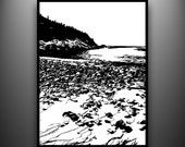 Sand Beach, Maine Coast Papercut, Framed Hand-Cut Paper Art