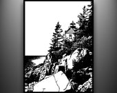 Maine Lighthouse Papercut, Bass Harbor, Framed Hand-Cut Paper Art