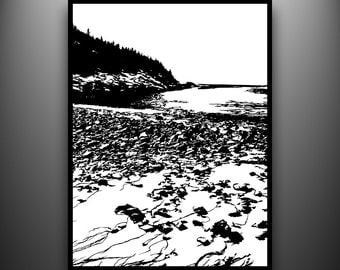 Sand Beach, Maine Coast Papercut, Framed Hand-Cut Paper Art