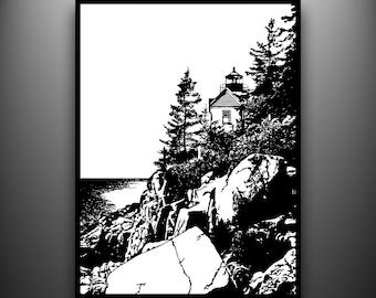 Maine Lighthouse Papercut, Bass Harbor, Framed Hand-Cut Paper Art