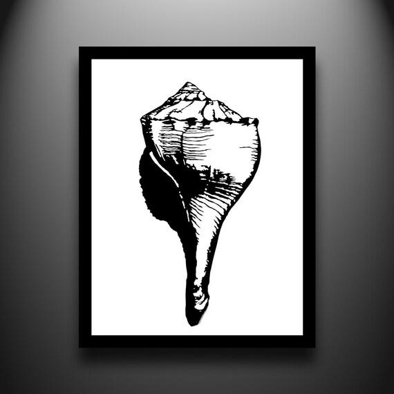 Shell Papercut  Art - Whelk 11x14 Original Hand Cut Paper Art