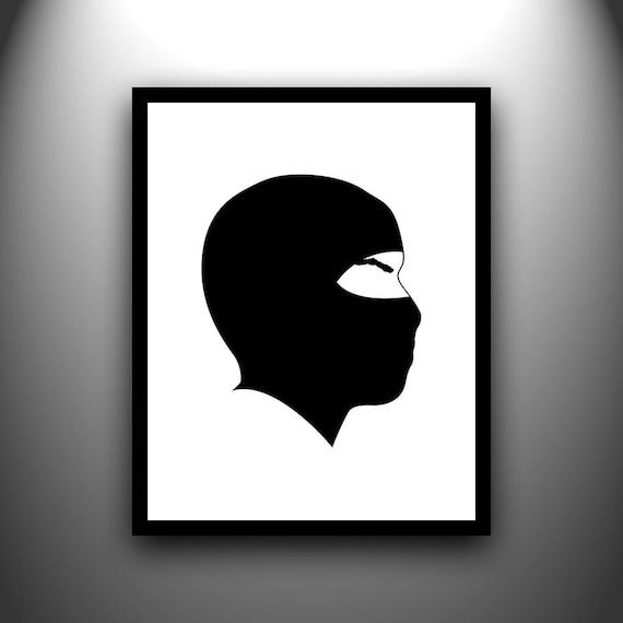 Ninja hand-cut paper silhouette 8x10