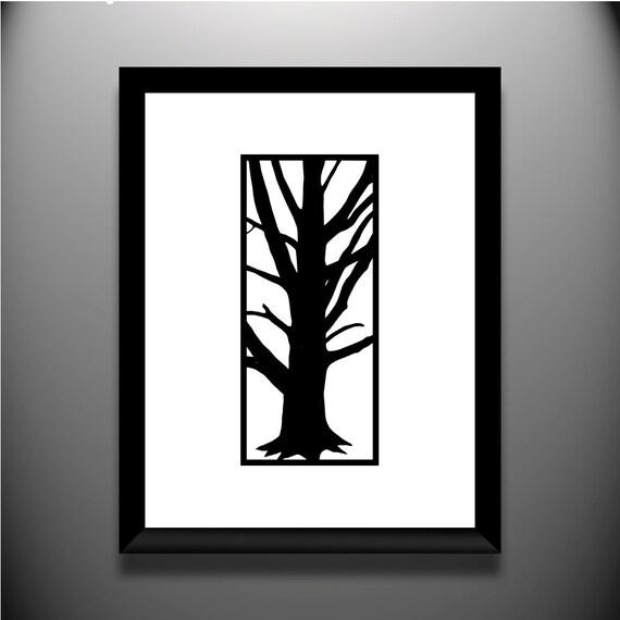 Branches original papercut, 4x9 framed 11x14
