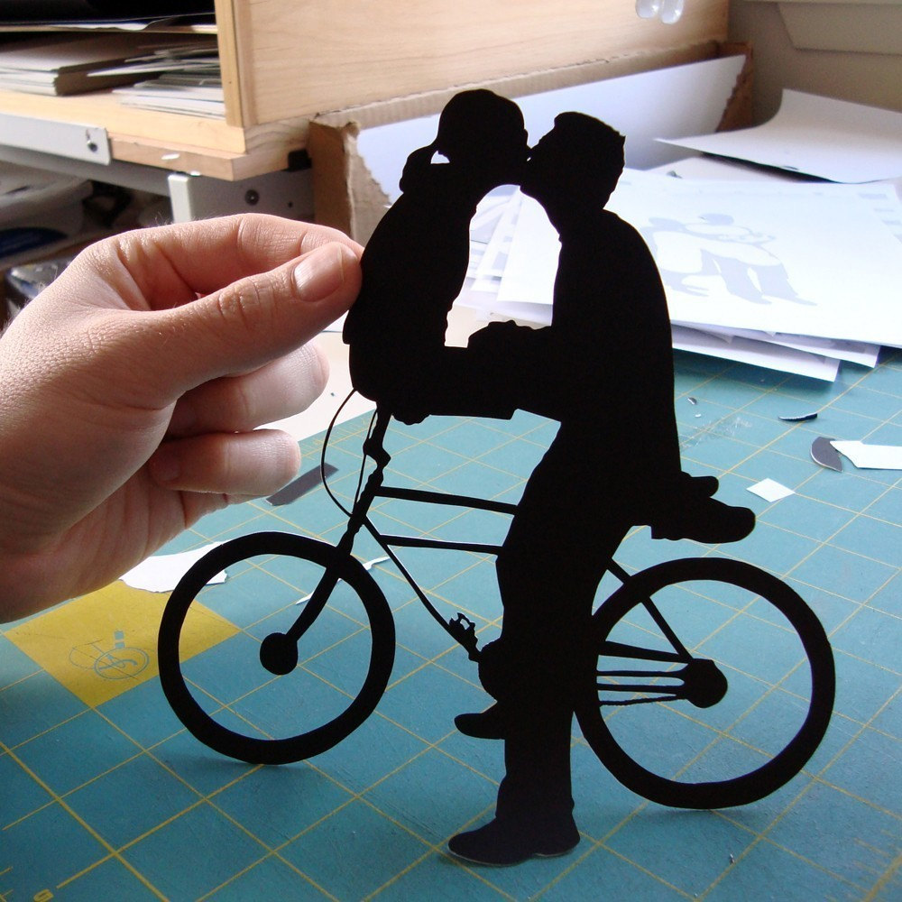 Bicycle Kissing Couple First Anniversary Paper Silhouette 8x10