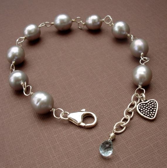 Wire Wrapped Grey Pearl Bracelet, Silver Wire Bracelet, Heart Charm, Gemstone Dangle