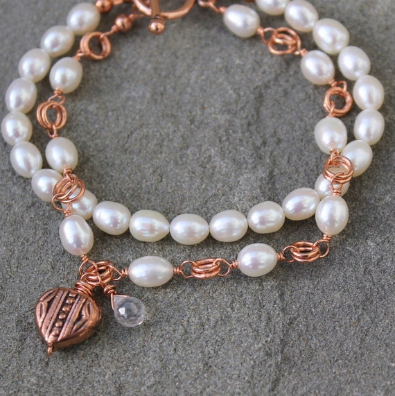 Multi Strand Pearl Bracelet, Wire Wrapped Copper, White Freshwater Pearls, Heart Charm - RUSTIC PEARL - Great Valentines Day Gift