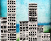 City on the Water - Mixed Media - City Scape - Original - Signed Art - Skyscrapers - New York Times - Broadway -One of a Kind - Nightlife -