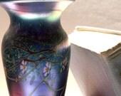 RESERVED for Kristen V Cloisonne Vase Okra Glass - 1984 - Floral Vines - Cobalt Vase No 5 - Collectible - England - English - Vase - Glass -