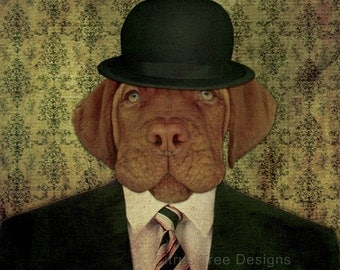 JASPER - Original Photomontage Fine Art Print - Signed and Dated --Dog portrait dog in a hat dog print giclee