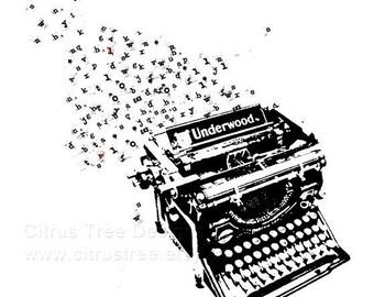 Typewriter Print - Art for Writers - Typewriter Journal Art - for Bookworms - Author - Reader - Original Illustration Fine Art Print