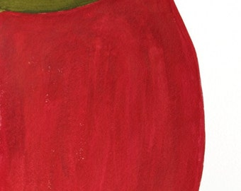 Delicious - Original Painting - Apple - Red - Green - Abstract - Fruit - Food - One of a Kind -