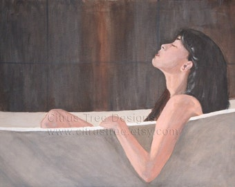 The Bath - Print of Original Painting - Fine Art - Woman in Tub - Acrylics on Canvas - Signed and Dated - Qualifies for Buy Two Get One Free