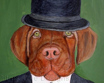 Jasper - Original Painting- Gentleman  Ancestor Painting - Acrylic on Canvas 24 x 36 - Signed and Dated  - Bowler Hat - Dog Portrait - Dog -